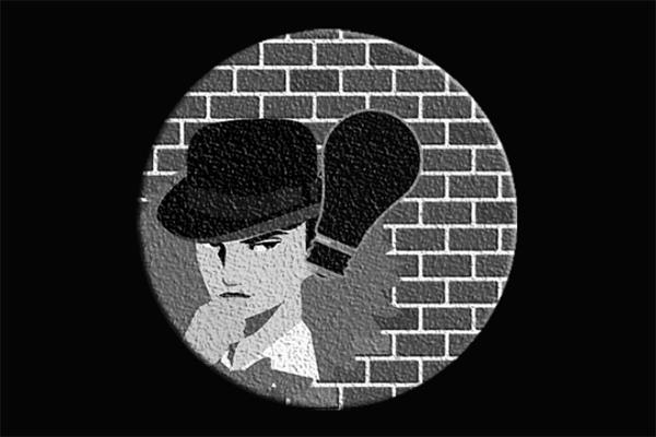 モノクロの探偵のイラスト