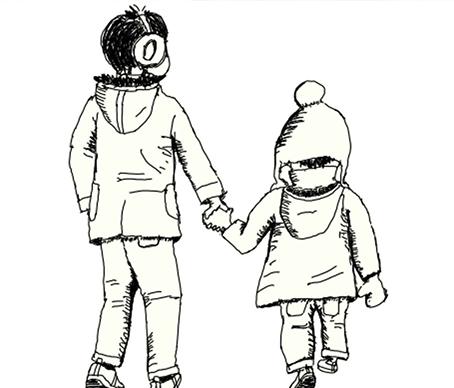 兄弟が手を繋いで歩いている