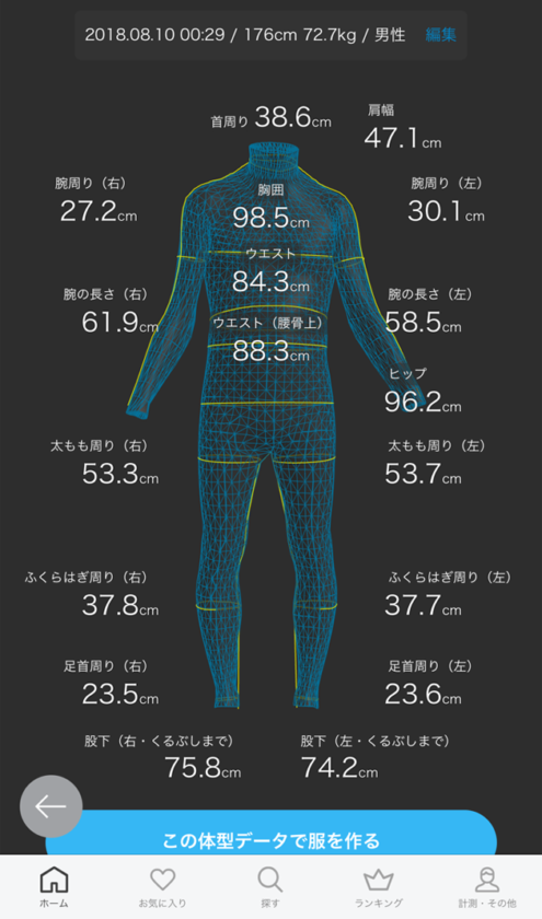 身体のデーター