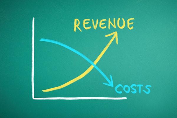 チョークで描かれた費用と収益のグラフ