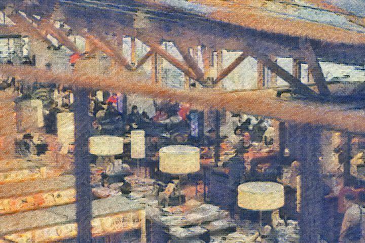 写真:武雄図書館内の2階からの風景