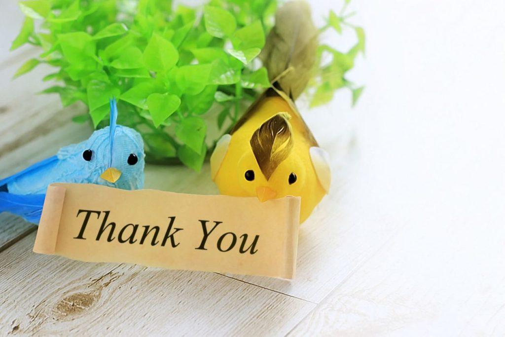 画像:Thank Youと書かれたボード